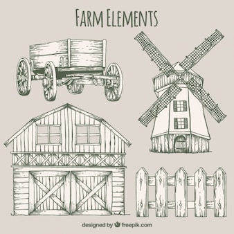 Sketches farm elements and barn