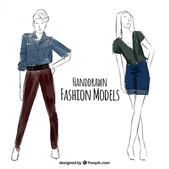 Sketches of fashion models