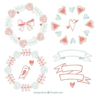 빈티지 스타일의 꽃 프레임과 리본 스케치