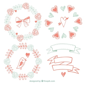 Sketches floral frames and ribbons in vintage style