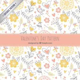 Sketches floral valentine pattern