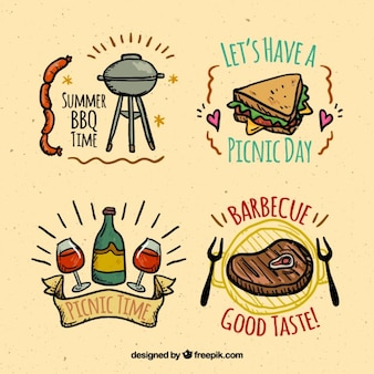 Sketches food of bbq and picnic labels