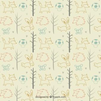 木パターンとスケッチの森の動物