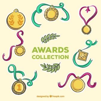 色のリボンと黄金のメダルをスケッチ