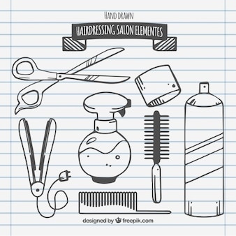 Sketches hairdressing salon elements