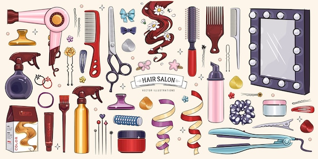 Sketches hairdressing salon objects set