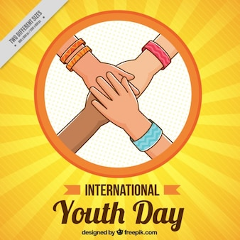 Sketches hands together youth day background