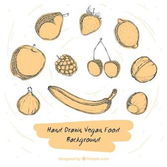 빈티지 스타일의 스케치 건강 식품