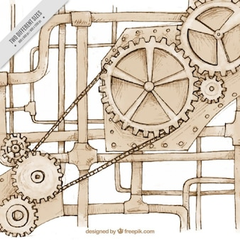 Sketches mechanism in steampunk style