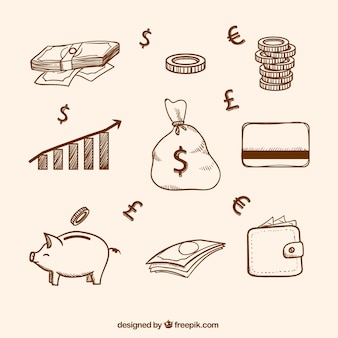Sketches of money items collection