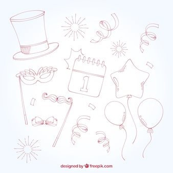 Sketches of new year decoration elements