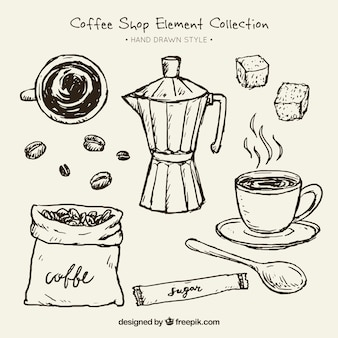 Sketches of coffee maker and elements for coffee pack