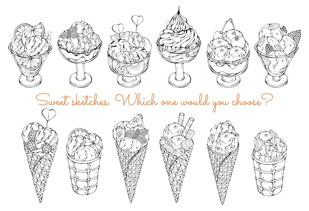 Эскизы разных видов мороженого.