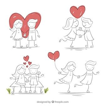사랑 세트에 연인 스케치