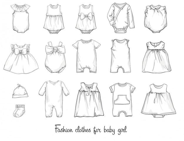 赤ちゃんのためのファッショナブルな服のモデルのスケッチ。ベクトルイラスト。