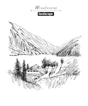 산 풍경과 산촌 스케치