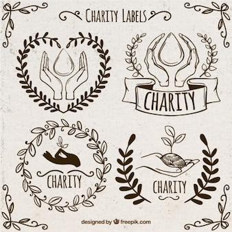 Sketches ornamental donation stickers set
