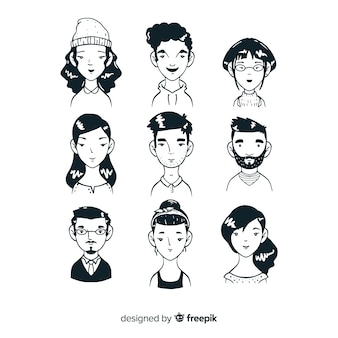 Sketches of people avatar collection