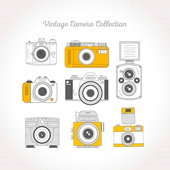 Зарисовки ретро камеры набор