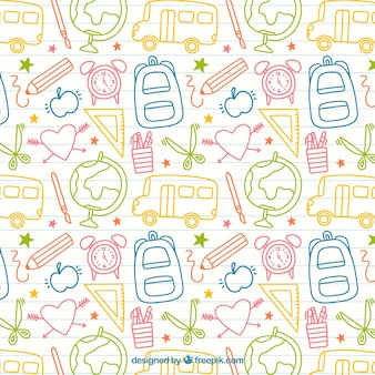Sketches school elements pattern
