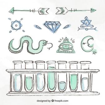 Schizzi elementi scientifici e simboli