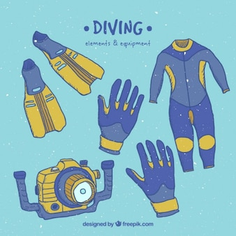 Sketches scuba diving equipment