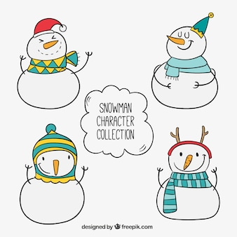 Sketches set of snowmen with hats and scarfs