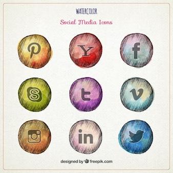 Sketches social media icons in watercolor