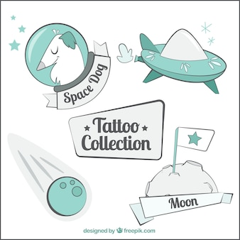 Sketches of space elemenents tattoos