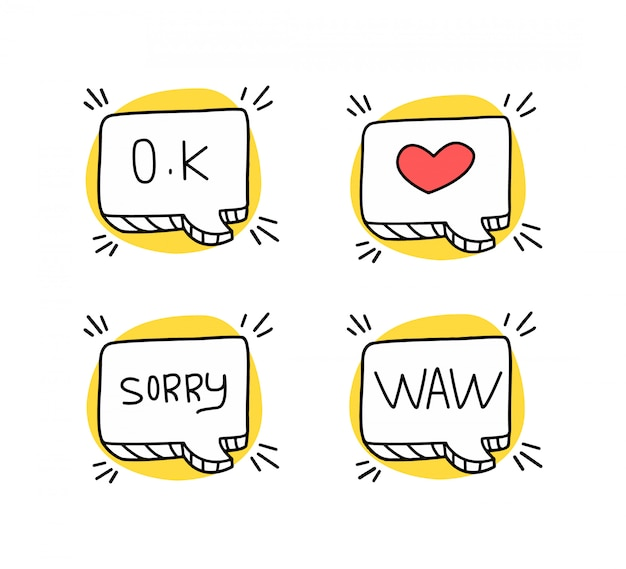 Sketches of speech bubbles with different expressions