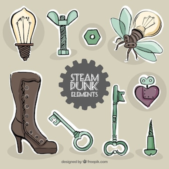 Sketches steampunk elements labels