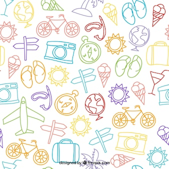 Sketches travel elements pattern