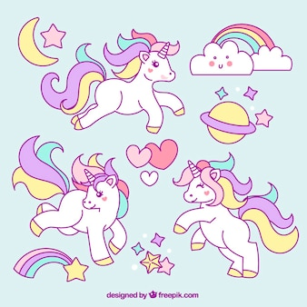 Sketches of unicorn with lovely elements