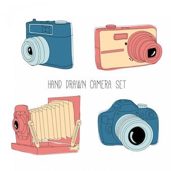 ビンテージカメラセットをスケッチします。