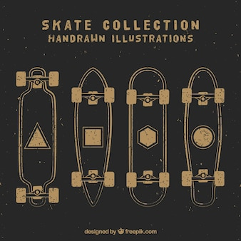 Sketches vintage skateboards set
