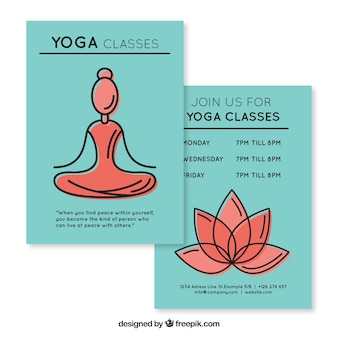 Sketches woman and florwer yoga classes flyer