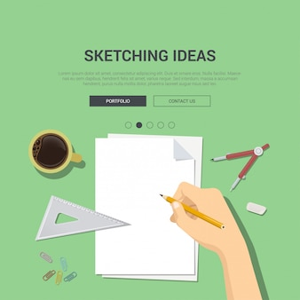 Sketching ideas concept banner template. hand with pencil over blank empty white sheet of paper compasses ruler vector illustration.
