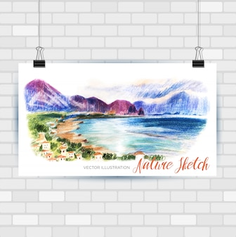 Sketching illustration in  format. poster with beautiful seascape . hand drawn illustration.