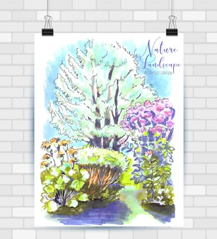 Sketching illustration in vector format. poster with beautiful flowers garden.