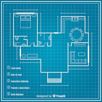 Sketching plan of house blueprint