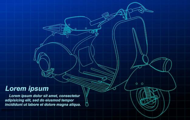 Sketching of vehicle on blueprint background.