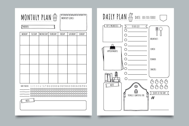 Sketchy bullet journal planner template