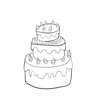 Sketchy cartoon birthday cake