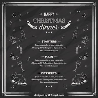 Sketchy christmas dinner menu on blackboard