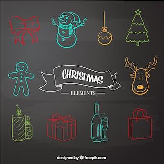 Sketchy christmas elements on blackboard