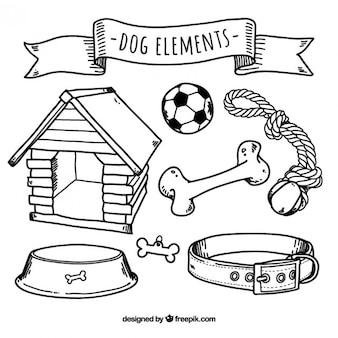 犬の要素のスケッチコレクション