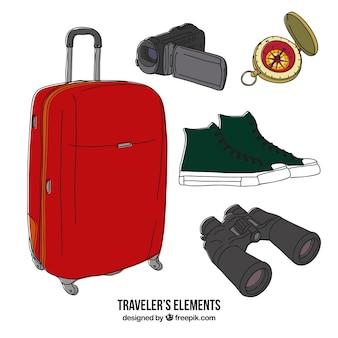 여행자 요소의 스케치 모음