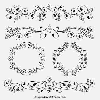 Sketchy floral ornaments