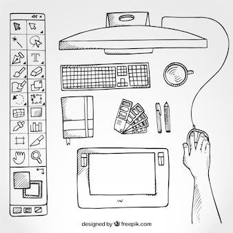 Sketchy graphic designer desk in top view