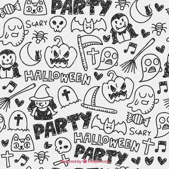 Sketchy halloween pattern